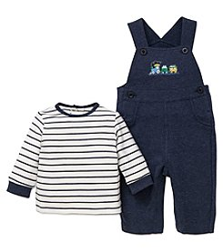Little Me Baby Boys' 2 Piece Long Sleeve Shirt and Train Overalls
