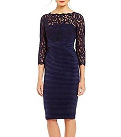 Adrianna Papell Lace Yoke And Sleeve Cocktail Dress