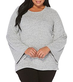 Rafaella Plus Size Brushed Bell Sleeve Knit Top