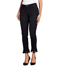 Black Daisy Black Wash Frayed Cuff Ankle Jeans