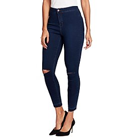 Black Daisy Tube High Rise Ankle Jeans