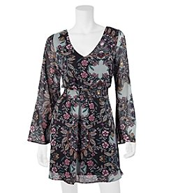 A. Byer Floral Smocked Waist Bell Sleeve Dress