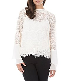 A. Byer Lace Illusion Tier Bell Sleeve Top