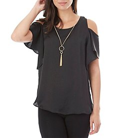 A. Byer Satin Flutter Cold Shoulder Top