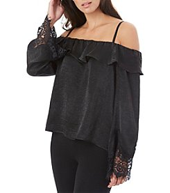 A. Byer Satin Off Shoulder Lace Sleeve Top
