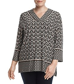 Jones New York Collection Plus Size Geometric Pattern Top