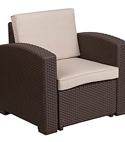 Flash Furniture Faux Rattan Chair with All-Weather Cushion