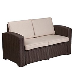 Flash Furniture Faux Rattan Loveseat with All-Weather Cushions