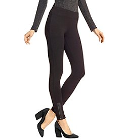 Hue® Leatherette Trim Zippered Cotton Leggings