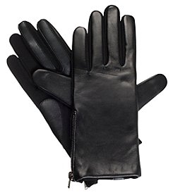 Isotoner Signature® Women's Solid Side Zipper Leather Gloves