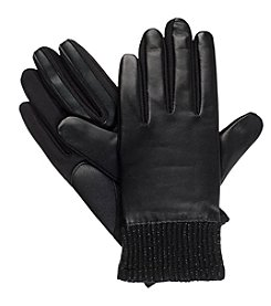 Isotoner Signature® Women's Ribbed Cuff Solid Leather Gloves