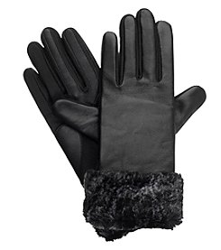 Isotoner Signature® Women's Solid Leather Gloves With Fur
