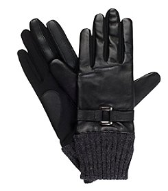 Isotoner Signature® Women's Solid Buckle Leather Gloves