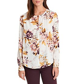 G.H. Bass & Co. Shirred Neck Floral Top