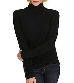 G.H. Bass & Co. Cable Sleeve Turtle Neck Sweater