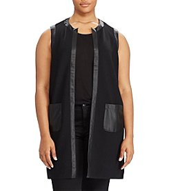 Lauren Ralph Lauren® Plus Size Faux Leather Trim Vest