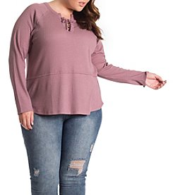 Eyeshadow Plus Size Lace-Up Waffle Knit Top