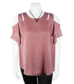 A. Byer Plus Size Ruffle Sleeve Cold Shoulder Top
