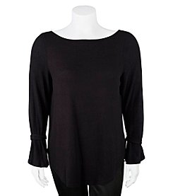 A. Byer Plus Size Tie Sleeve Top
