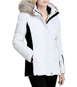 Calvin Klein Short Colorblock Faux Fur Trim Hood Coat
