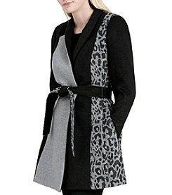 Calvin Klein Mixed Solid And Leopard With Belt Coat