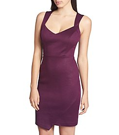 GUESS Embossed Scuba Sweetheart Neckline Dress