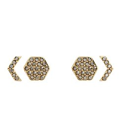 Vera Bradley® Goldtone Whisper Links Hexagon Stud Earrings