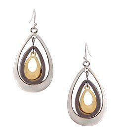 Erica Lyons® Tri Tone Nested Teardrops Pierced Earrings