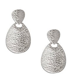 Erica Lyons® Silvertone Teardrop Pierced Earrings