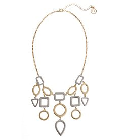 Erica Lyons® Two Tone Fringe Front Short Necklace