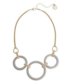 Erica Lyons® Two Tone Ring Front Short Necklace