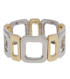 Erica Lyons® Two Tone Open Squares Stretch Bracelet