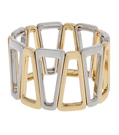 Erica Lyons® Two Tone Open Triangles Stretch Bracelet