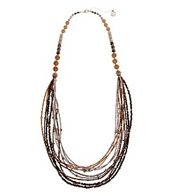Erica Lyons® Loves Chocolate Goldtone Long Multi Strand Front Necklace