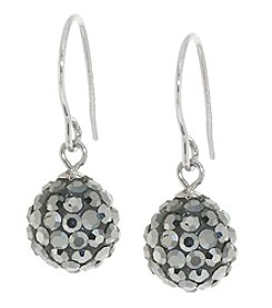 Athra Silver Plated Grey Crystal Ball Drop Earrings