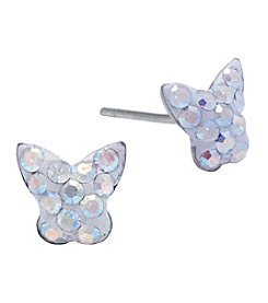Athra Silver Plated Aurora Borealis Crystal Butterfly Earrings
