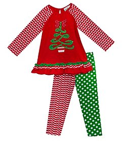 Rare Editions Girls' 2T-4T Long Sleeve Holiday Dress And Leggings Set
