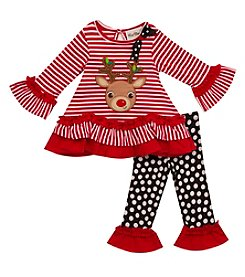 Rare Editions Girls' 2T-6X Holiday Top And Leggings Set
