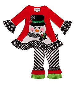 Rare Editions Girls' 2T-6X Long Sleeve Snowman Dress And Pants Set