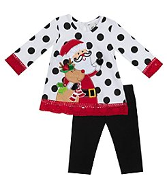 Rare Editions Girls' 2T-6X Long Sleeve Santa Dress And Leggings Set