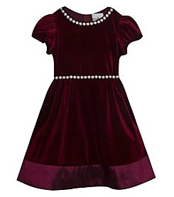 Rare Editions Girls' 2T-16 Short Sleeve Velvet Gem Trim Dress