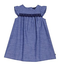 Nautica Girls' 2T-4T Short Sleeve Dress With Lace Trim