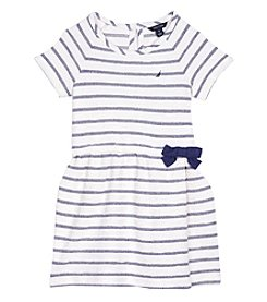 Nautica Girls' 2T-6X Short Sleeve Striped Terry Dress