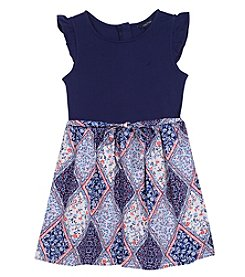 Nautica Girls' 2T-6X Short Sleeve Top And Woven Skirt Dress