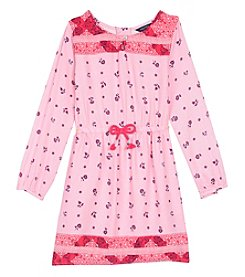 Nautica Girls' 2T-6X Long Sleeve Floral Peasant Dress