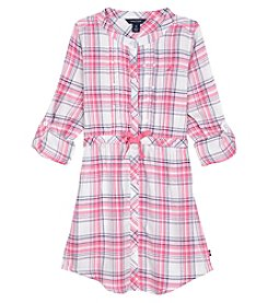Nautica Girls' 2T-6X Long Sleeve Plaid Shirtdress
