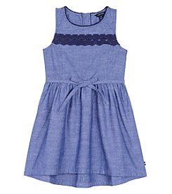 Nautica Girls' 4-6X Sleeveless Dress With High-Low Hem