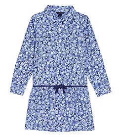 Nautica Girls' 2T-6X Long Sleeve Floral Print Shirtdress