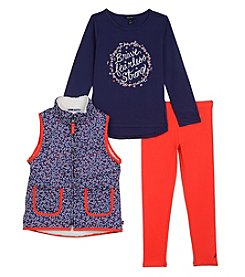 Nautica Girls' 2T-6X 3 Piece Sherpa Vest Top And Leggings Set