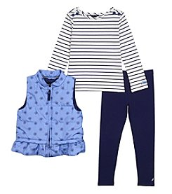Nautica Girls' 2T-6 3 Piece Puffer Vest Top And Leggings Set